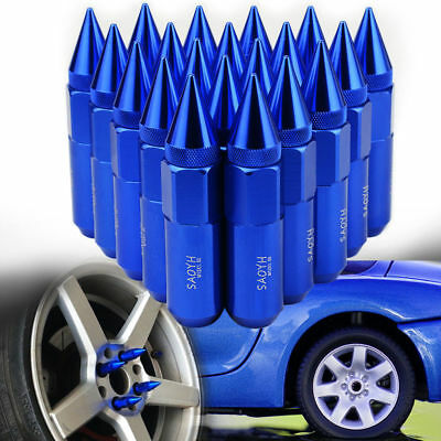 20 PCS BLUE Extended Tuner Aluminum Wheels Rims Lug Nuts Cap Spike M12X1.5 60mm