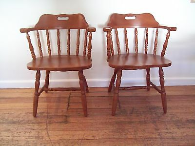 Chairs x 2 -Wooden Vintage Colonial Style Captains Chairs for Dining Kitchen
