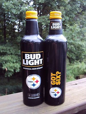 BUD LIGHT Limited Edition 2017 PITTSBURGH STEELERS Aluminum 16 oz beer bottle