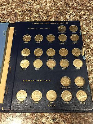 Canadian 5 Cent Coins Lot Of 53 1920's-Now