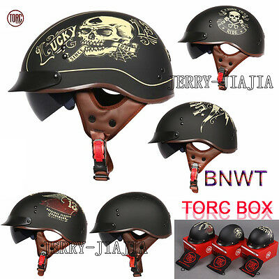 TORC T55 Open Face Half Helmet ABS Motorcycle Scooter DOT Drop Down Sun Visor