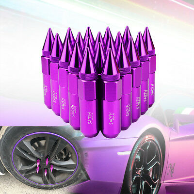 Purple Lug Nuts M12X1.5 Cap Spiked Extended Tuner Aluminum 60mm Wheels Rims 20