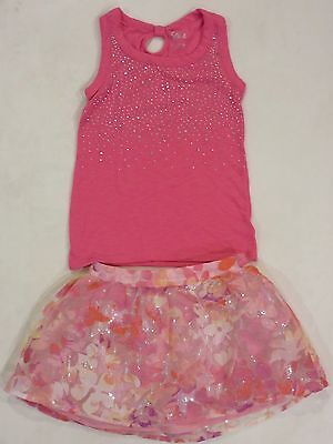JUSTICE Girls Sparkle Pink Shirt Flower Twirl Skirt Set EUC Sz 8