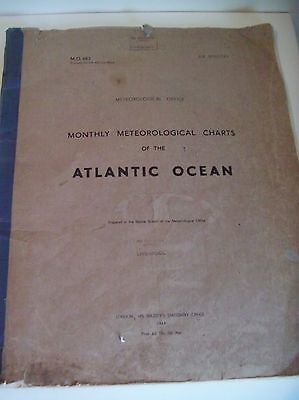 Antique Book Meteorological Charts Old Maps of Atlantic Ocean MO 483 1948