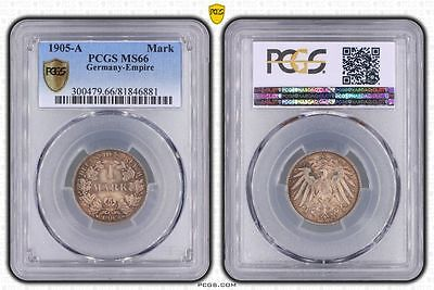 Germany 1905-A 1 Mark, PCGS MS66, deep golden toning