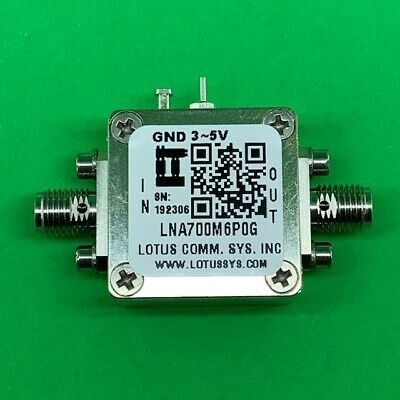 Broadband Ultra Low Noise Amplifier 0.4dB NF 0.7~6GHz 20dB Gain 20dBm P1dB SMA