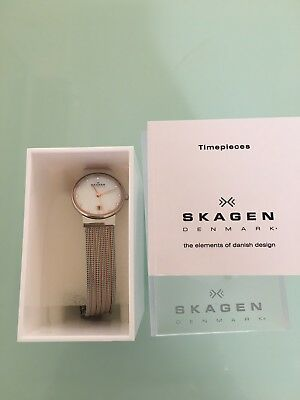 Skagen Ladies Watch Rose Gold / Silver Pearl Face 355ssrs rrp $195