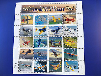 US 32c Classic American Aircraft Stamp Sheet Mint Never Hinged - Free Postage!