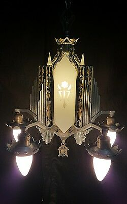 Antique French Art Deco 5-Arm Slip Shade Chandelier-Stunning