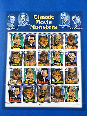 US 32c Classic Movie Monsters Stamp Sheet Mint Never Hinged-Free Postage!