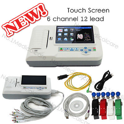 Touch digital 6 channel 12 lead ECG Electrocardiograph, usb pc software, printer