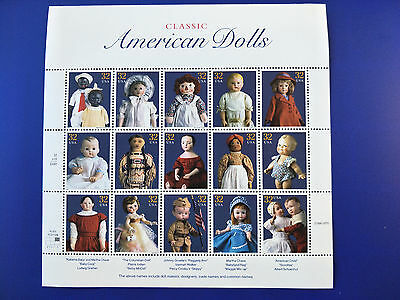US 32c Classic American Dolls Stamp Sheet Mint Never Hinged    Free Postage!