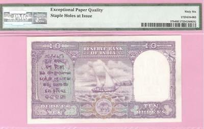 Republic India 10 Rs Ramarao 1st Issue Only Eng Pick #37b(1951)PMG Graded 66 EPQ