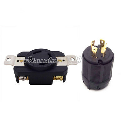 4 Prong Generator Locking Plug&Receptacle Twist Lock Socket 30AMP 125/250V