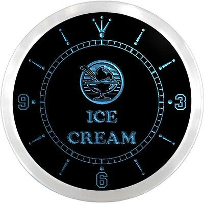nc0678-b OPEN Ice-cream Cafe Shop Display Neon Sign LED Wall Clock