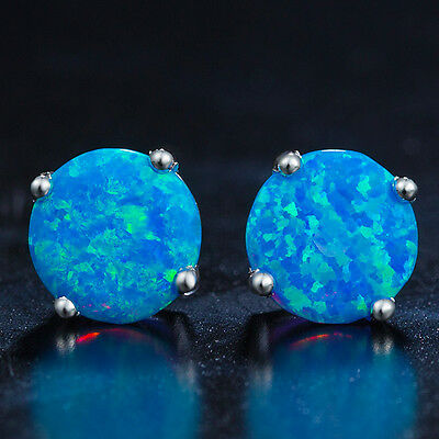 Blue Opal Stud Earrings, Vibrant Colour in White Gold Plated with 8mm Round Cut