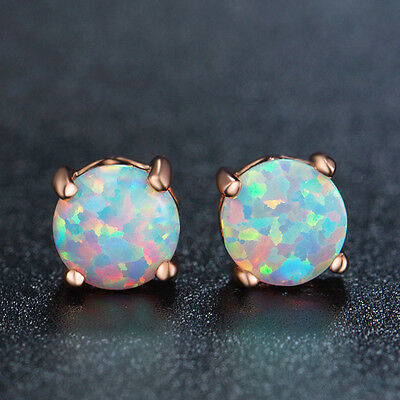 Round White Fire Opal Rose Gold Plated stud post earrings 6mm Push Back Earring
