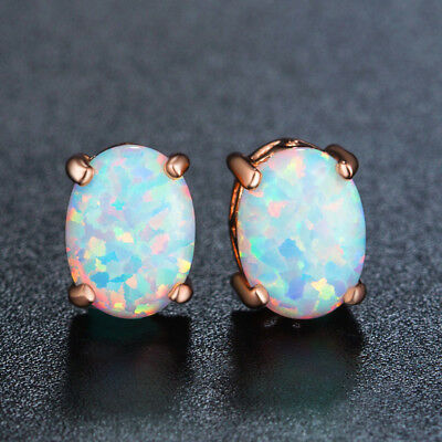 AUSTRALIAN 6X8mm Oval OPAL Rose Gold Plated STUD EARRING Push Back