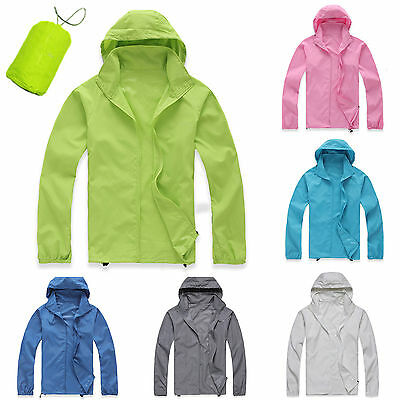 Womens Mens Cycling Outdoor Sport Rain Coat Zip Up Waterproof Windproof Jacket