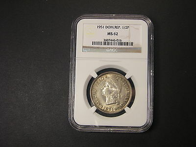 1951  NGC MS62 Dominican Republic  1/2 Peso RARE date in MS