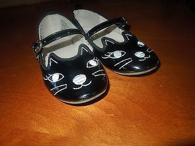 Toddler Girls GAP Black Patent Leather Kitty Face Mary Jane Flats SZ 9