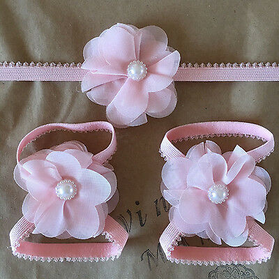 Newborn Baby Girl Infant Pink Headband Foot Flower Elastic Hair Band Accessories