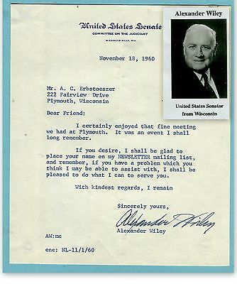 Alexander Wiley, Wisconsin, Senator, on letter dated 1960    (3447