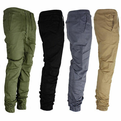 Casual Trousers Slim Fit Elastic Men's Twill Jogger Pants Urban Hip Hop Harem