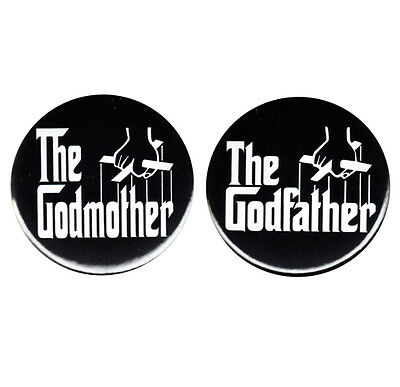Godmother Godfather Pin Back Button Badge Godparent Baby Christening Gifts Favor
