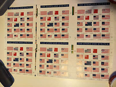 US 33c The Stars and Stripes Uncut Press Sheet of 6 Mint Never Hinged