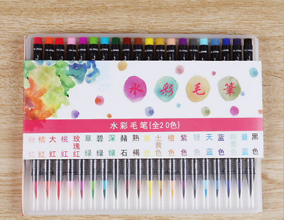 20 Farben Aquarell Pinsel Aquarellpinsel Pinselstift Malerei Pinsel Brush Stifte