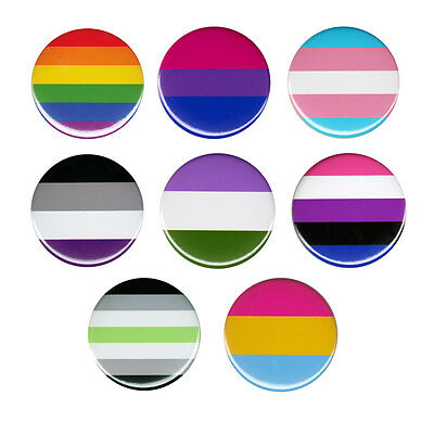 LGBT Pride Flag Button Badge Pin Rainbow Gay Lesbian Bisexual Transgender Queer