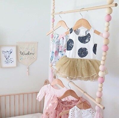 Boutique wooden Bead swing Hanging Clothes Rack For Baby Nursery/children's Room