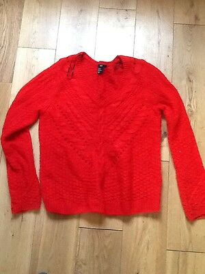 h&m red womend knitted jumper size medium