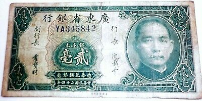 China Twenty Cents 1935 The Kwangtung Provincial bank