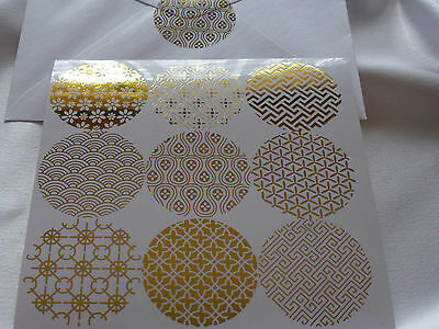 36 Clear Round GOLD design Wedding Seal Sticker Label Birthday Party Christening