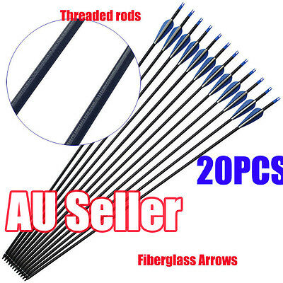 "20PCS 32"" HEAVY DUTY Fiberglass Arrows Archery Compound Recurve Bow spiral Pole"