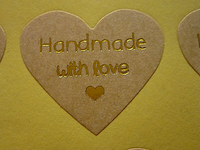 40 Hand made with Love Label Sticker Seal Bonbonniere Favour Craft Gift Card