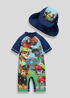 Boys UV Swimsuit with Hat Paw Patrol UV Sun Protection Sunsafe Surfsuit NEW BNWT