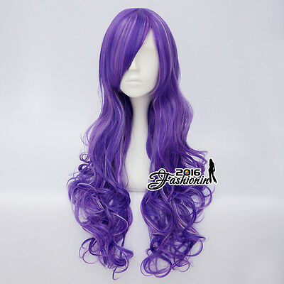 Lolita Mixed Purple 80CM Ombre Long Curly Women Party Fashion Hair Cosplay Wig