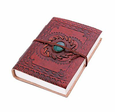 Leather Journal 6 x 4 Diary with Embedded Good Luck Stone