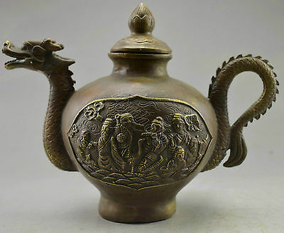 Collectible Decorated Old Handwork Copper Carve 8 Immortal On Dragon Tea Pot