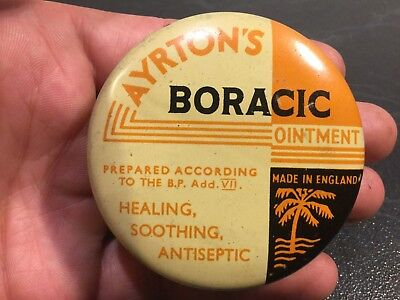 Old 1oz Vintage Boracic Ointment Advertising Tin & Contents