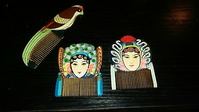 Vintage Hand painted Signed Hair barrettes (3) in Jewelry Box BEAUTIFUL