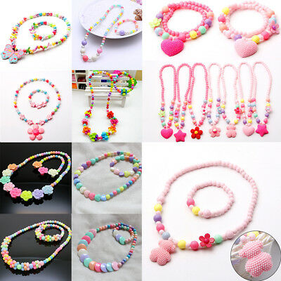Variety Of Styles Sets Necklace& Bracelet New Candy Colors Girls Jewelry Kids