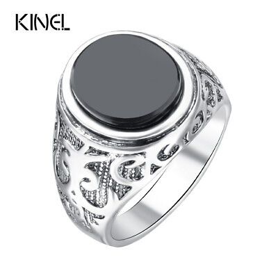 Punk Black Ring For Men Silver Plated Circular Surface Classic Pattern Fashio...