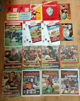 Canterbury Rugby Union Programmes 1971 - 2004