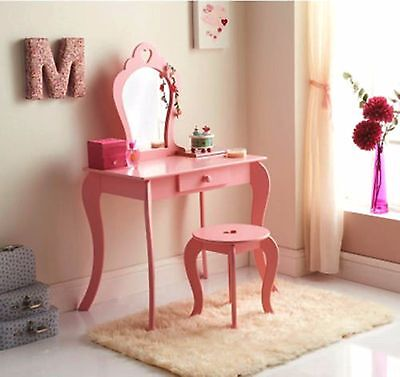 Childrens Wooden Pink Amelia Vanity Set/ Dressing Table With Mirror & Stool NEW