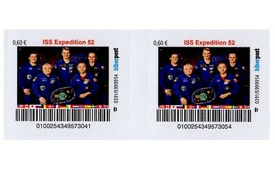 Privatpost Space 2x  Biberpost 0,60€ ISS- Expedition 52 ohne Whitson 2017