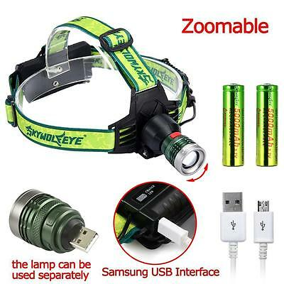 Zoomable CREE XPE Q5 LED 8500 Lm Head Lamp USB Cycling Waterproof Torch Light JY